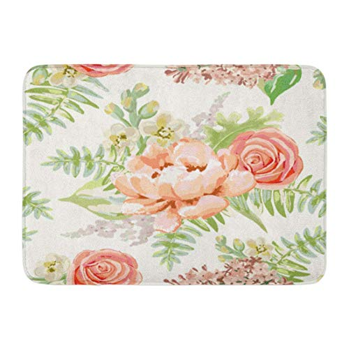 NCH UWDF Doormats Bath Rugs Door Mat Green Blush Pale Pink Bouquets Delicate Flowers Peony Rose Lilac Gillyflower Pastel Colors Floral 15.8'x23.6'