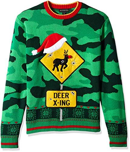Blizzard Bay Men's Ugly Christmas Sweater Reindeer, Dark Green, X-Large