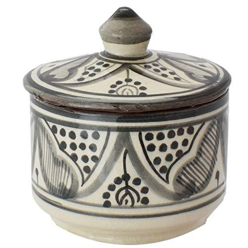 Oosterse keramische blikjes van keramiek amra grijs 10cm | gekleurde Marokkaanse muntpot thee koffie doos uit Marokko | Orient vintage voorraaddoos kruidendoos rond | servies oosters met de hand geschilderd