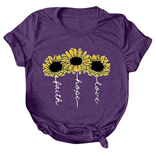 Tee Shirt t Shirt Damen T-Shirt Bluse Tops Frauen Casual Letter Printing Kurzarm O-Neck Loose (3XL,2lila)