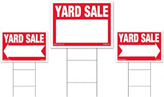 3-Pack Yard Sale Sign Kit - Double Sided Signs & H-Stakes - Red Property Signs 18