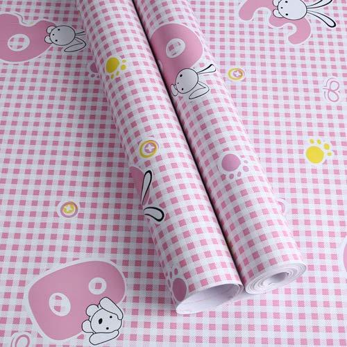 Umweltfreundliche PVC-Cartoon-Tapete selbstklebende dicke wasserdichte Schlafsaal Tapete Kinderzimmer Wandaufkleber niedlichen Retro-Aufkleber rosa Kaninchen Welpe (0,45 * 10 m) 45x1000CM