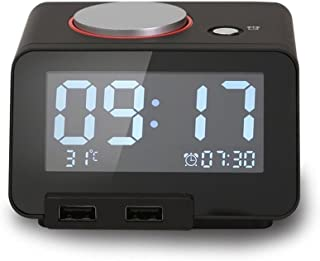 YaFex Multi-Function Alarm Clock, Indoor Thermometer, Clock Radio with Dual USB Charging Ports for iPhone/iPad/iPod/Androi...