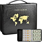 Coin Collection Book Holder for Collectors, 200 Pockets Coins Collecting Album & 30 Sleeves Paper Money Display Storage Case for Coin Currency Collection Supplies, Bill, Pennies, Quarters, Stamp