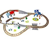 SXJ Juego De Trenes De Madera con Rieles De Tren De Doble Cara, 3 Vagones De Tren Magnético Y Tren De Puente De Madera, Juego De Camiones Eléctricos, para Niños Pequeños, 100 PCS