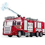 Lotee Camion de Pompier télécommandé Voiture RC Jouet Jouet for Les garçons et Les Filles avec des lumières sirène et échelle Extensible Camion de Course 2.4 Ghz Hors Route Camion électrique