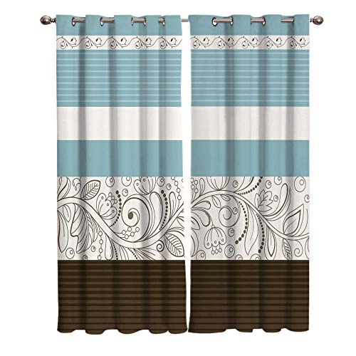 JNBGYAPS Blackout Curtains 3D Stripes and floral ribbons printing Thermal Insulated Curtains Eyelet Super Soft Window Treatment for Bedroom Window Decoration parlor bathroom 2 x 43.3 x 84.6 Inch