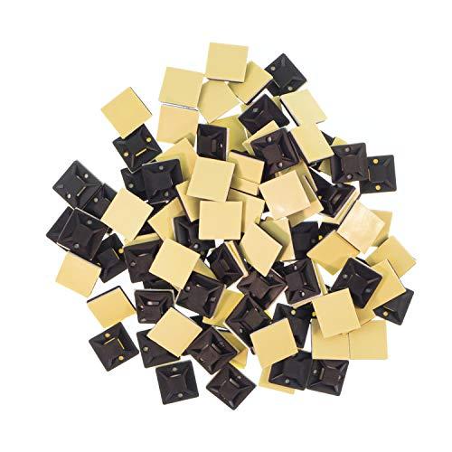 100 x Montagesockel, Klebesockel, Schraubsockel, Kabelhalter in Schwarz, selbstklebend, 20mm x 20mm, Kabelschelle, Kabelklemme