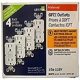 15 Amp 125-Volt Duplex Self-Test Slim GFCI Outlet, White (4-Pack)