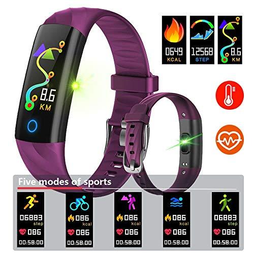 Binssaw Pulsera Inteligente IP68 Oxígeno Impermeable Podómetro Frecuencia Cardíaca Monitor de Sangre Fitness Tracker Band Multi Sport Reloj Inteligente (Negro)