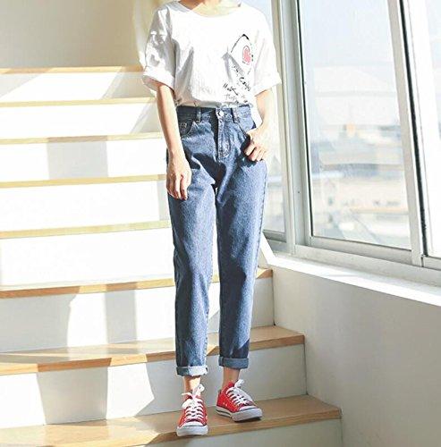 Olici MDRW-Straight Jeans Vrouwelijke Taille Losse Broek Negen All-Match Student Slim Hole Broek