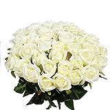 Veryhome 10 pièces Artificielle Roses Fleurs De Soie Faux Bouquets Floraux pour La Décoration De Mariage Maison Décoration De Fête d'anniversaire Jardin Décor (Blanc - Roses en Bouton)
