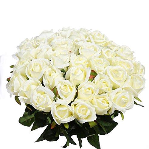 Veryhome 10 Stücke Künstliche Rosen Silk Blumen Gefälschte Flowers Braut Hochzeit Bouquet Für Hausgarten Geburtstag Party Home Wedding Dekor ( Weiß - Rosenknospe )