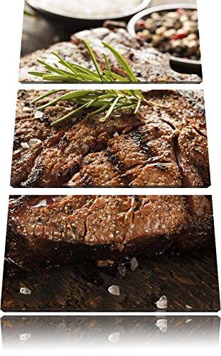 Pixxprint Leckeres Fleisch mit Rosmarin 3-Teiler Leinwandbild 120x80 Bild auf Leinwand