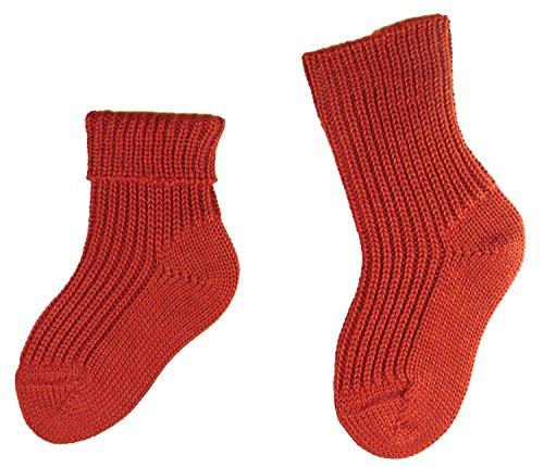 Shimasocks Baby Kinder Öko Socken 1:1 Rippe, Farben alle:rost, Größe:13/14 bzw. 50/56