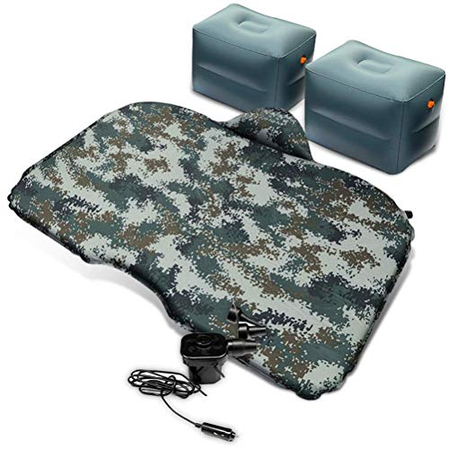 Zixin Car Air Mattress SUV Back Seat Blow-Up Sleeping Pad Car Travel Inflatable Mattress with Electric Air Pump And 2 Air Support Pad (Color : Black) (Color : Camouflage)