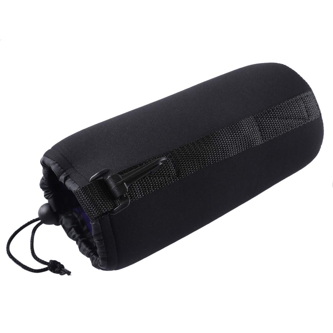 Size Neoprene SLR Camera Lens Carrying Bag Pouch Bag with Carabiner 10x22cm Durable