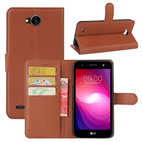 HualuBro LG X Power 2 HandyHülle, Leder Brieftasche Etui Lederhülle Tasche Schutzhülle Hülle [Standfunktion] Handytasche Flip Hülle Cover für LG XPower 2, LG X Power II (Braun)