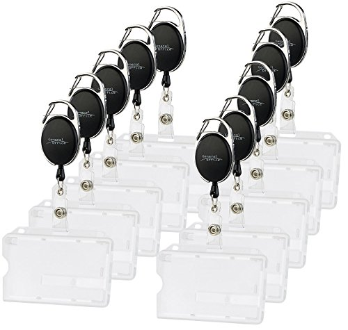 General Office Kartenhülle Hartplastik: Ausweishülle aus Hartplastik, 60-cm-Jojo-Befestigungs-Clip, 10er-Set (Ausweishalter Hartplastik)