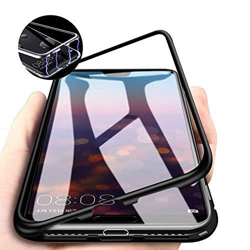 CHENYING Kompatibel für Samsung Galaxy A9 2018 /A920 Hülle Magnetische Adsorption Technologie Metallrahmen 360 Grad Schutzhülle Transparent Gehärtetes Glas Rückseite Handyhülle Cover,Schwarz