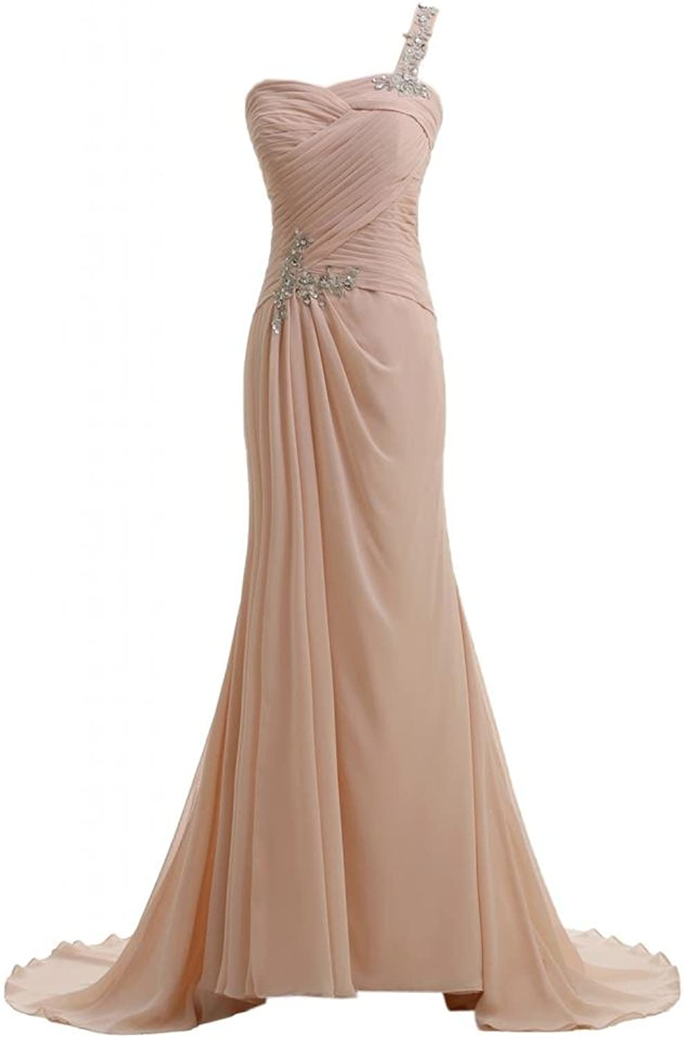Angel Bride Sheath Train OneShoulder Celebrity Evening Dresses