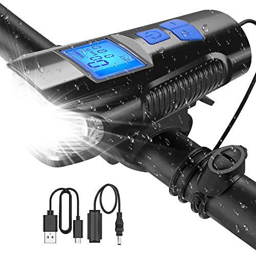Luz Bicicleta Recargable USB - Faro Impermeable para LED Bicicleta con Velocímetro Multifunción y Bocina con 2400 Lúmenes 4 Modos Luz LED Bicicleta para Carretera y Montaña Seguridad para la Noche