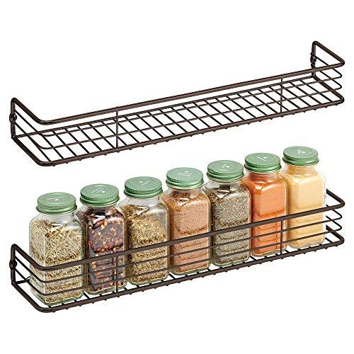 mDesign Metal Wire Wall Mount Spice Rack Shelf - Organizer for Kitchen Cabinet, Cupboard, Food...