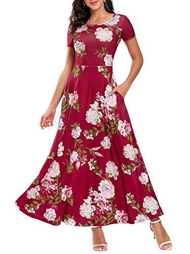 ZABERRY Long Maxi Dress Flowy Dresses for Women Long Sundresses for Women Casual Short Sleeve-Red Floral XXL