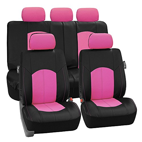 FH Group PU008PINK115 Full Set Seat Cover (Perforated Leatherette Airbag Compatible and Split Bench Ready Pink)