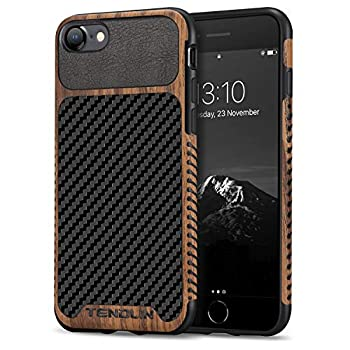 TENDLIN Compatible with iPhone SE 2020 Case/iPhone 8 Case/iPhone 7 Case Wood Grain with Carbon Fiber Texture Design Leather Hybrid Slim Case  Carbon & Leather & Wood