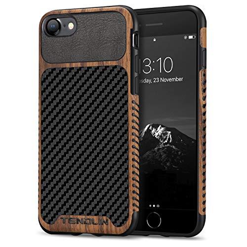 TENDLIN Kompatibel mit iPhone SE 2020 Hülle/iPhone 7 Hülle/iPhone 8 Hülle Holz & Carbon Fiber Leder Flexiblem TPU Silikon Hybrid Weiche Schutzhülle