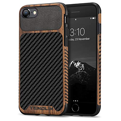 TENDLIN Compatible with iPhone SE 2020 Case/iPhone 8 Case/iPhone 7 Case Wood Grain with Carbon Fiber Texture Design Leather Hybrid Slim Case (Carbon & Leather & Wood)
