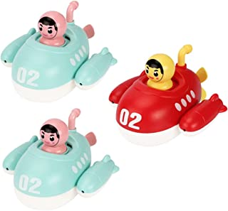 TOYANDONA 3pcs Kids Bath Toy Submarine Baby Bath Toy Water Spray Squirt Toy Wind Up Bathtub Toy Clockwork Floating Toy for...
