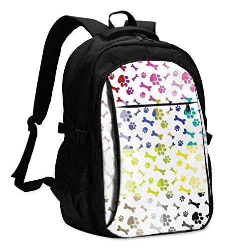 asfg Paws and Bones Multifunctional Personalized Customized USB Backpack, Student School Outdoor Backpack,Travel Bag Laptop Bookbags Business Daypack.