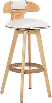 Teng Peng Bar Stool - Retro can Rotate 360 Degree Kitchen Restaurant bar Stool Solid Wood