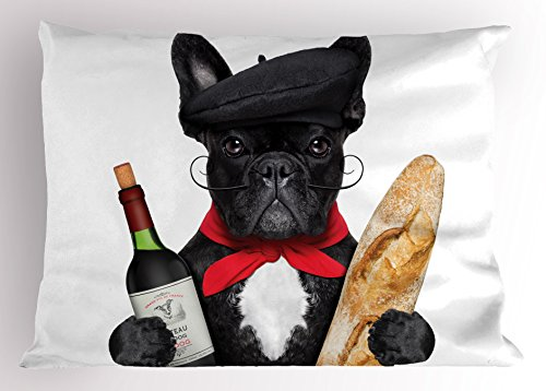 Ambesonne Bulldog Pillow Sham, French Dog in a Hat with Red Wine and Baguette Bread Gourmet Parisienne Animal, Decorative Standard King Size Printed Pillowcase, 36' X 20', Multicolor