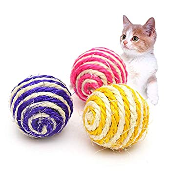 HPiano 6 pcs Sisal Ball Safe Pet Chew Toy pour Chat Chatons Accessoire Bricolage Jouet Fournitures pour Animaux de Compagnie (Couleur aléatoire)