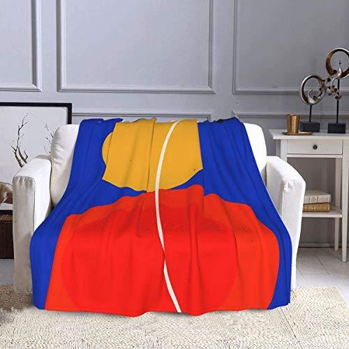 Manta de franela de felpa, color rojo, amarillo, negro y azul, abstracta con círculo zen, para meditación, moderna para todas las estaciones, cómoda manta de aire acondicionado de 152 x 127 cm