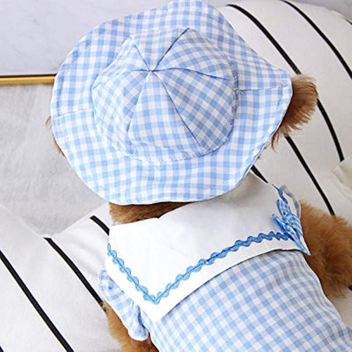 FHKGCD Kleding voor huisdieren met hoed, Plaid Puppy Dog kostuum Pug Yorkie hemd voor huisdieren middelgrote honden