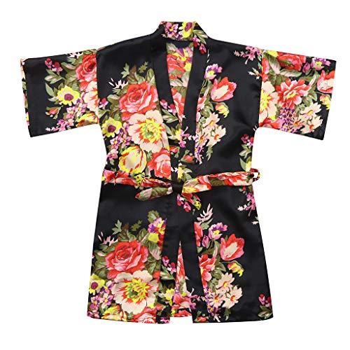 Gebreide jas Roben badjas äRmel bloem pioenrozendruk stropdas Dunne baby kid meisje bloemen silk satijn kimono nachtkleding kleding 10 zwart