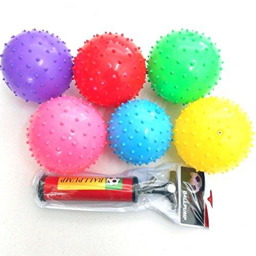 jameitop® 10x Igelball Stachelball Noppenball Massageball Bunte Farben inkl. Ballpumpe, Durchmesser ca. 9-11 cm