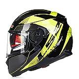 SSDAOO Casque de Moto Anti-buée Coussins gonflables Doubles-Lens Casque intégral détachable Liner, Convient pour Moto/VTT/Longue Distance d'équitation,Vert,XL