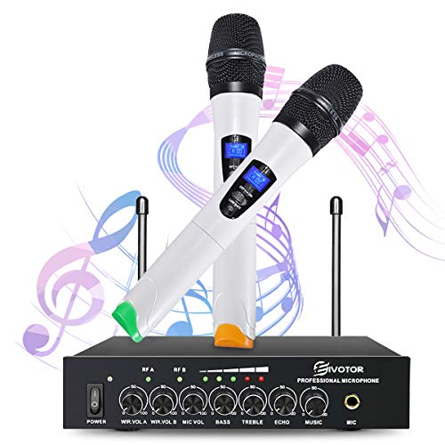 2019 Karaoke Microphone, EIVOTOR Microphone Set, Wireless Microphone, Technical Compliant, Professional, Dual Channel, UHF Wireless Microphone, Microphone System, Receiver + 2 Microphones (Handheld Type) + 0.2 inch (6.5 mm) Audio Cable + Power Adapter, For Stages, Karaoke, Meetings, Parties