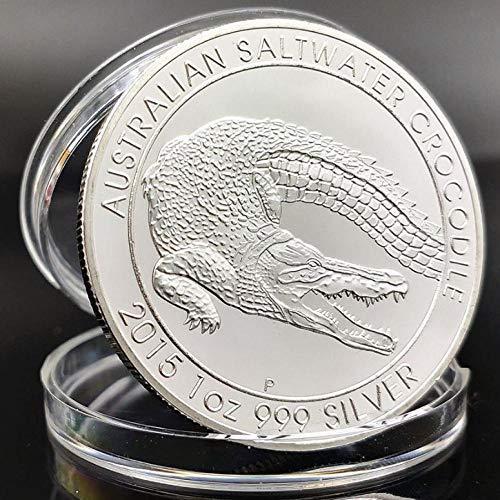 XCDJF Australian Animal Challenge Münze Niedliches Krokodil Versilbert Gedenkmünze Elizabeth II Collection Silbermünze Größe: 40 * 3mm, Material: Versilbert