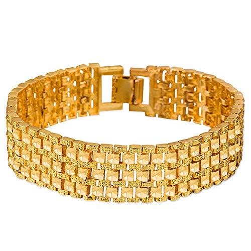 Vergulde Euro-armband, luxe edelgouden ketting, vierkant gesneden armband