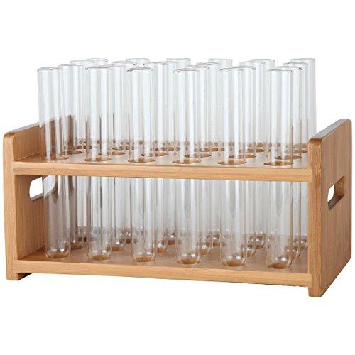 Lily's Home Bamboo Test Tube Vial Shot Glasses Holder Rack,...
