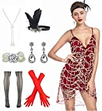 Women 1920s Sequin Fringe Strap V Neck Club Prom Dress with 20s Gatsby Accessories Set (XL, Style 2 Gold Red)