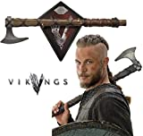 Collectible Vikings Battle Axe of Ragnar Lothbrok - TV Series - Limited Edition w/ Certificate of Authenticity, Leather wrapped handle & Color box sleeve