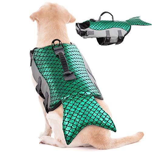 Pet Dog Life Jacket for Swimming,Mermaid Dog Lifejacket Vest for Small Medium Large XLarge Doggy Lifesaver Swimwear with Rescue Handle,Dog Safety Swimsuit Preserver Coat for Beach Boating Canoeing
