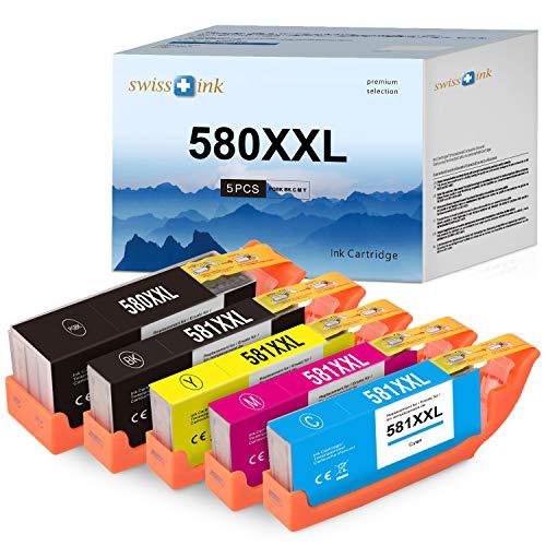 Swiss Ink Kompatibel Patronen Ersatz für Canon PGI-580 CLI-581 XXL Tintenpatronen für Canon TR8550 TR7550 TR8500 TS6150 TS6250 TS8250 TS8150 TS9550 TS6151 TS9155 TS8251 TS705 Druckerpatronen